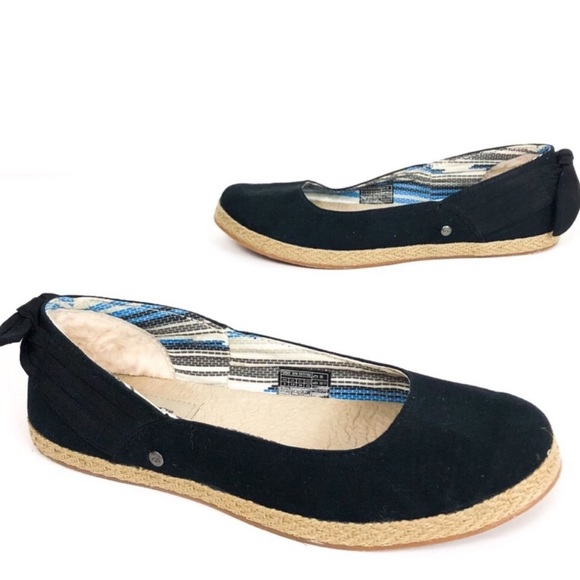 Perrie Black Canvas Bow Skimmer Flat
